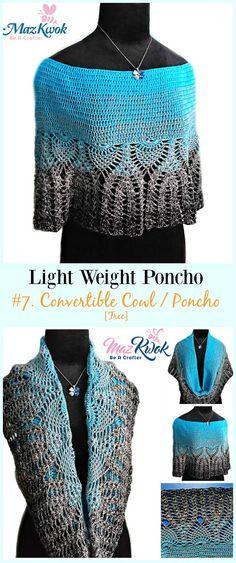Crochet Convertible Cowl / Poncho Free Pattern-Light Weight Spring Summer #Poncho; Free #Crochet; Patterns