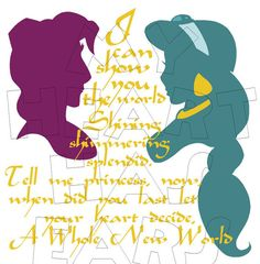 Printable DIY Jasmine and Aladdin A whole new world clip art by MyHeartHasEars, $5.00. How to make an iron on transfer: http://myhearthasears.com/faq/
