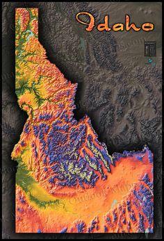 Idaho physical map Fact Checking Pinterest Idaho