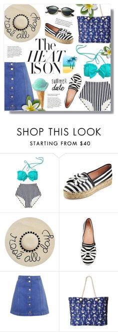 """""""The Heat Is On"""" by alexandrazeres ❤ liked on Polyvore featuring Kate Spade, Topshop, Gabriella Rocha, Ray-Ban, Swimsuits, Heat, twopiece and summerdate"""