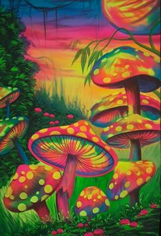 Mushrooms, Fluorescent painting Glow in dark, UV Glow, Blacklight Art,UV Glow painting Hippie Wallpaper, Graphic Wallpaper, Kunst Inspo, Art Inspo, Fantasy Kunst, Fantasy Art, Mushroom Paint, Psychadelic Art, Trippy Drawings
