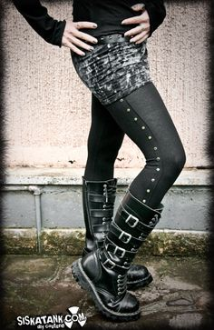 STUDDED black industrial LEGGINGS punk rocker metal by siskatank