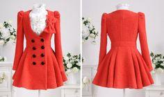 Fashion watermelon red double button woolen lady coat_Fashion Coats_Mili fashion Trade Co.Ltd