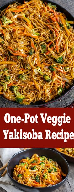 One-Pot Veggie Yakisoba Noodles only take 30 minutes to get on your table. Slurpy noodles, savory sauce and tons of veggies make this dish hearty and . Veggie Yakisoba Recipe, Yakisoba Noodles Recipe, Vegetarian Recipes, Cooking Recipes, Healthy Recipes, Veggie Asian Recipes, Ramen Recipes, Veggie Noodles, Kitchen