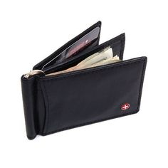 Alpine Swiss RFID Blocking Mens Wallet Leather Front Pocket Spring Money Clip