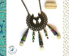 Long Collier Bronze Sautoir Perles en Papier Vert Collier