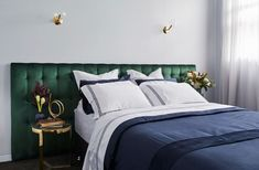 Hotel luxe bedroom with emerald green velvet upholstered bedhead, gold wall sconces and elegant bedroom styling. Guest bedroom inspo from The Block 2018 The Block, Bedroom Inspo, Home Decor Bedroom, Bedroom Furniture, Bedroom Ideas, Bedroom Designs, Guest Bedrooms, Master Bedroom, Teen Bedroom