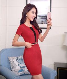 Moda Mujeres ropa de Trabajo Vestidos de Manga Corta para el Verano Señoras de la Oficina Vestido Rojo Estilo OL del Desgaste Del Trabajo Femenino
