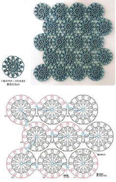 Continuous circle crochet flowers