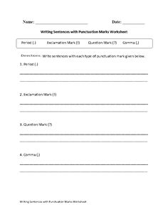 These Punctuation worksheets are great for working with Punctuation. Use these punctuation worksheets for the beginner and intermediate levels. Writing Sentences, Sentence Writing, Punctuation Worksheets, Exclamation Mark, Semicolon, Quotation Marks, Question Mark, Grammar, Teaching Resources