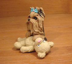 Original Yorkie Yorkshire Terrier Bear Dog Sculpture Claydogz Mandyo OOAK | eBay