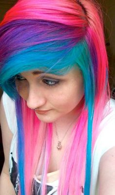 teal purple pink #dyed #hair #pretty