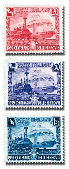 Dalle obsolete locomotive a vapore alle moderne motrici elettriche... questa simbolica immagine di progresso compariva sulla bella serie, composta da 3 valori rappresentati in questa foto, che celebrò l'importante traguardo dei cent'anni delle Ferrovie sul territorio italiano.