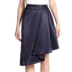 Carven Asymmetrical Draped Skirt ($228) ❤ liked on Polyvore featuring skirts, contemporary sp - workshop, marine fonce, pencil skirt, draped asymmetrical skirt, long draped skirt, zipper pencil skirt and long pencil skirt