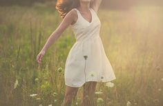 The timeless beauty of a dancing in a dress in a field at sunset. || Bill Ecklund Photography, www.billecklund.com