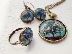 Magányos fa teliholdnál üveglencsés szett, Lugosine, meska.hu full moon, lonely tree, pendant, earrings