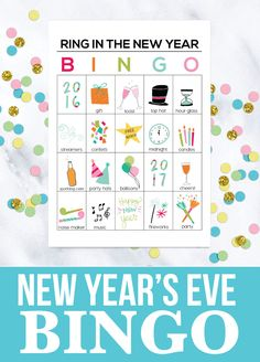 Printable New Year's Eve BINGO Sheets! Help ring in the new year with these fun printables. thirtyhandmadedays.com