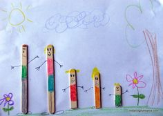 """It was fun making thesePopsiclestick families. Its really easy. You can show them to draw on both the stick and the paper to make cute people. You then just glue down your sticks where you want them. Encourage your kids to make a scene for your families. Kenzie was adorable when she showed me her work. She said, """"Mom, I have people walking off the page. Is that clever?"""" That's… {Read More}"""