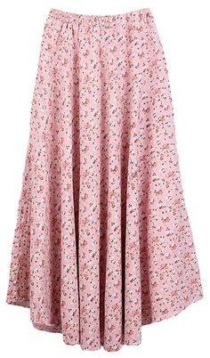 Youhan Women's Print Flower Elastic Waist Cotton Linen Long Maxi Pleat Skirt