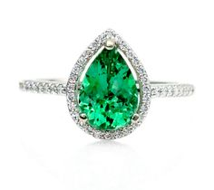 Pear Emerald Engagement Ring Diamond Halo Emerald by RareEarth, $1420.00