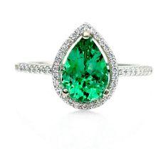 Pear Emerald Engagement Ring Diamond Halo Emerald Ring 14K May Birthstone Custom Bridal Jewelry 18K Rose Gold Platinum