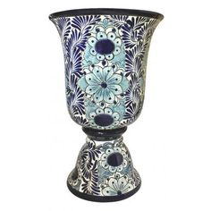 This Impressive Talavera Planter Embos All The Charm Of Mexican Featuring Clic Cobalt Blue Designs And An Eye Catching Wine Gl Shape