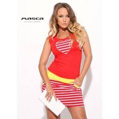 4301cf8bea Masca Fashion csíkos, zsebes szoknyarészű piros ujjatlan miniruha, szív  alakú applikációval, sárga betéttel