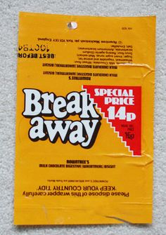 BREAKAWAY - 1984 ROWNTREE BRITISH UK Chocolate Candy Bar Wrapper