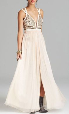 Free People Maxi Dress Golden Chalice in Black (Seashell):