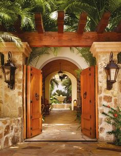 rich garden and entryway elements