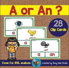 A or An? Grammar Clip Cards