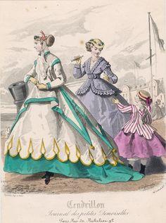 August seaside (?) dresses, 1866 France, Cendrillon
