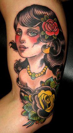 Girl old school tatoo