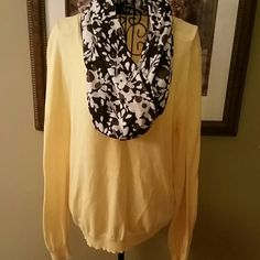 Yellow J CREW sweater with infinity scarf large Great v-neck sweater Size large  The inside tag has been cut.  100% cotton   Matching infinity scarf included. J. Crew Sweaters V-Necks