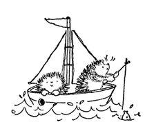 Étampe Penny Black : hérissons dans un voilier / Penny Black Stamp hedgehogs in boat