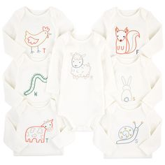 Pack of 7 embroidered organic cotton onesies - Sammie