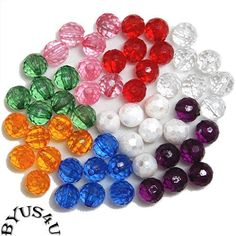 ACRYLIC ROUND FACETED SPACER BEADS 6mm CHOICE OF COLORS 100pc