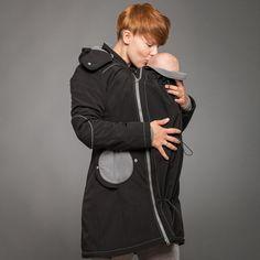 "Liliputi® Mama Coat ""Black-Grey""  http://www.liliputibabycarriers.com/babywearing-mama-coat/mama-coat-black-grey Maternity Coat, Babywearing, Simple Dresses, Raincoat, Rain Jacket, Simple Gowns, Rains Raincoat, Infant Clothing, Toddler Outfits"