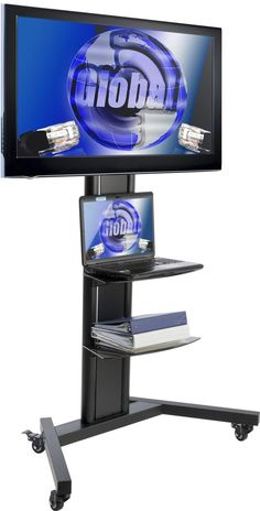 Universal Pedestal TV Stand | (2) Tempered Glass Media Shelves