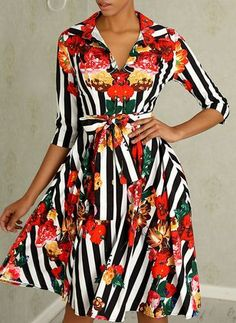 New Sweet Floral Printed Bowknot Skater Dress red m Floral Shirt Dress, Maxi Dress With Sleeves, Half Sleeves, Striped Dress, Dress Black, Style Outfits, Trendy Outfits, Skater Outfits, Dress Outfits