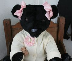 """Sugar Baby  Sweet Black Angel    Sugar Baby is around 20"""" tall and wears wonderful old sweater...Sold"""