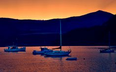 #Sunset in Akaroa, #NewZealand by ©Julien Blavette. A so peaceful moment - Read more on : http://www.quelques-notes.com/index.php/2009/08/15/jours-tranquilles-a-akaroa/