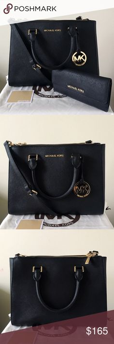 Michael Kors Medium Sutton Satchel With Wallet A beautifully and classic set! Black Saffiano leather with gold hardware. Lightly used. Authentic.   The Sutton Satchel also comes with a long strap, shows very minor wear on the bottom feet. Wallet shows minor wear on the hardware. Please see pictures for detail. Overall in really good condition.   Measurement: 12.5*9*5 inch Both come with a dust bag. Michael Kors Bags Satchels