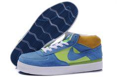 Bra Nike SB Dunk Mid Cut Män Skor Blå Vit Grön Gul Orange 2012 Försäljningspris:631.68kr