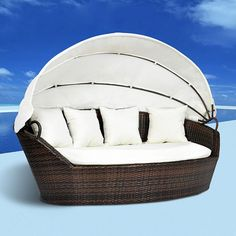 Sun Bed Brown Rattan Lounger Bed Canopy