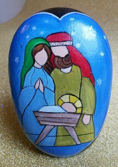 Christmas Rock, Christmas Nativity Scene, Christmas Scenes, Christmas Crafts, Rock Painting Patterns, Rock Painting Ideas Easy, Rock Painting Designs, Pebble Painting, Pebble Art