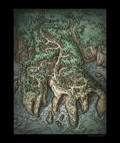 Illustration Prints Elven City Print Elven city Fantasy city map Map art