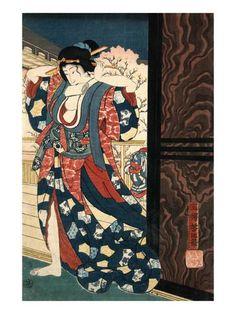 An Oiran with a Paper Kerchief in Her Mouth Advances Toward the Left Posters tekijänä Yoshitoshi Taiso AllPosters.fi-sivustossa
