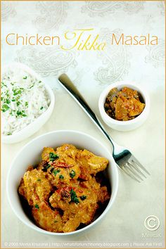 Chicken Tikka Masala Recipe -- Chicken tikka, on the other hand, is indeed an original Indian dish, prepared by marinating small bite-sized bits of chicken in yogurt and and spices, which are then grilled over a charcoal fire, giving it that lovely, unmistakable smokey flavor