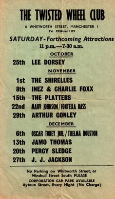 Flyer - The Twisted Wheel (Whitworth Street), 1969 - Manchester Digital Music Archive 60s Music, Live Music, Vintage Concert Posters, Music Posters, The Shirelles, Tamla Motown, Sweet Soul, Northern Soul, Music Images